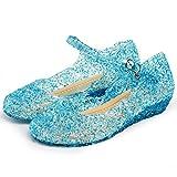 Katara ES10 - Frozen Eiskönigin Prinzessin Elsa, Cinderella Schuhe Kinder Kostüm, Prinzessinenkleid, Blau , 33