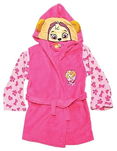Official Nickelodeon Paw Patrol Pink Skye Kids Dressing Gown Hooded Fleece Bathrobe Housecoat (2-3)