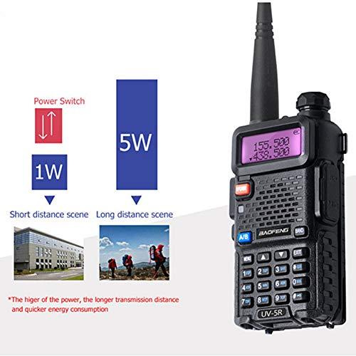 Walkie-talkie 5W VHF UHF Transc Wiederaufladbarer Dual Band Funkempfänge (1 Paar, Schwarz) -