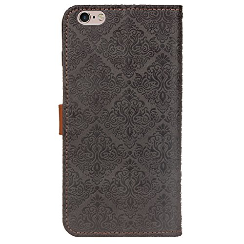 JAWSEU Coque Etui pour iPhone 6/6S 4.7,iPhone 6 Leather Case with Strap,iPhone 6S Etui en Cuir Folio Flip Wallet Cover Case,2017 Neuf Style Femme Homme Up and Down Unlock Holster Rabat Portefeuille ét gris profond*