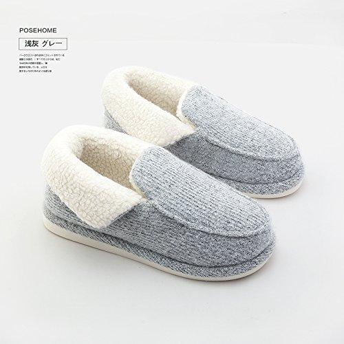 (WXMTXLM Winterhaus Indoor Paar rutschfeste Hausschuhe Herren dicke warme Tasche mit Mond Baumwolle Hausschuhe weiblich, 41-42 [geeignet für 40-41 Fuß], hellgrau)
