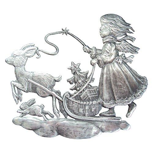 Zinngeschenke Rehlein zieht Engel patiniert aus Zinn (HxB) 7,0 x 6,0 cm Christbaumschmuck