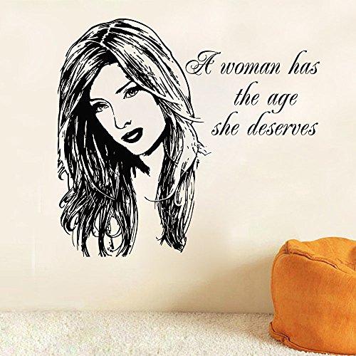 Beauty Haare Frau Gesicht Kunst entworfenen Wand Aufkleber Home Decor Removable Vinyl Wall Sticker Salon Mädchen Serie Wandbild WM-539, schwarz, 42 x 46 cm (Haar-salon-wand-kunst)