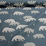 Stoff Kinderstoff Baumwolle jeansblau Bär Tannenbaum