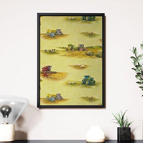 Newroom Design NEWROOM Wandbild 70x50cm Wandposter fertig zum Aufhängen gerahmt Landwirtschaft Feld Traktor Kinder Grün Bunt Premium (Landwirtschaft Gerahmte Kunst)