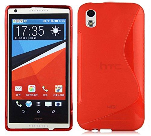 Cadorabo - Design 'S' Housse Gel (silicone) pour HTC DESIRE 816 - Etui Coque Case Cover Bumper en ROUGE CERISE