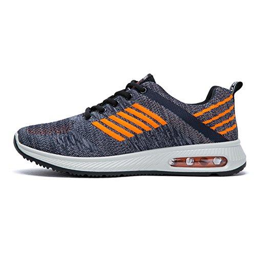Fexkean Homme Chaussures de Sport Multisports Outdoor Respirant Mesh Casual Sneakers Fitness Gym Running Baskets Gris Orange Bleu 39-45