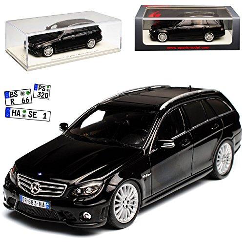 Spark Mercedes-Benz C-Klasse C63 AMG S204 T-Modell Kombi Schwarz 2007-2014 1/43 Modell Auto mit individiuellem Wunschkennzeichen