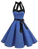 DRESSTELLS Neckholder Rockabilly 1950er Polka Dots Punkte Vintage Retro Cocktailkleid Petticoat Faltenrock Royal Blue Small White Dot L