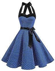 DRESSTELLS Neckholder Rockabilly 1950er Polka Dots Punkte Vintage Retro Cocktailkleid Petticoat Faltenrock Royal Blue Small White Dot S