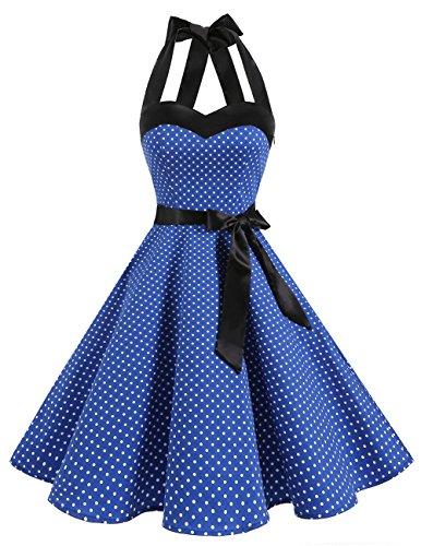 DRESSTELLS, Version3.0 Vintage 1950's Audrey Hepburn pin-up Robe de soirée Cocktail, Style Halter années 50 à Pois, Bleu Saphir XS