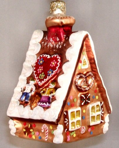 Pinnacle Peak Trading Company Gingerbread House Polish Mouth Blown Glass Christmas Tree Ornament Decoration -