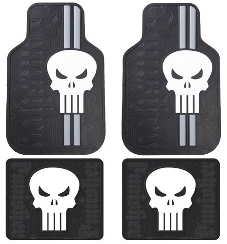 The Punisher Skull Head Logo Marvel Comics Car Truck SUV Front and Rear Seat Rubber Floor Mats - 4PCS by LA Auto Gear