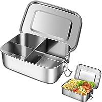 Boîte Bento INOX, Boîte Bento Étanche, Lunch Box Facile Nettoyer, avec Bague D'étanchéité et 3 Compartiments, Passe au…