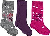 Kinderbutt 3-pk knee-high socks grey/pink/purple size 35-38