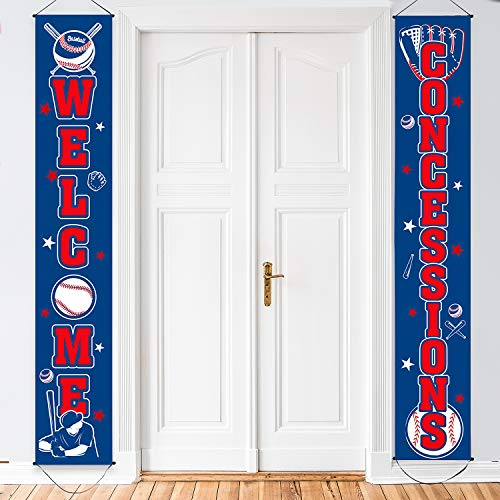 Baseballmotiv Concessions Banner Baseball Dekoration Set Baseball Veranda Schild Welcome Banner Hängende Dekoration für Indoor/Outdoor Sport Party Dekoration