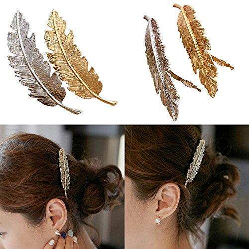 tall Feder Blatt Hair Clip Haarklammern Vintage Blatt förmigen Haarspangen Haarschmuck Kopfschmuck Haar Zubehör Pack 3 (Blonde Halloween Kostüme Zubehör)
