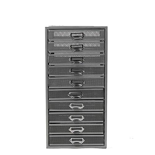 Mind Reader 10CABMESH-SIL Mesh 10 Cabinet, Metal Drawers, File, Utility, Office Storage, Heavy Duty Multi-Purpose Cart, Silver