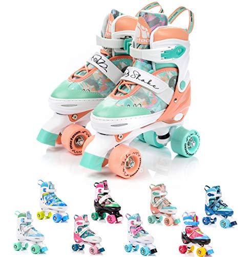 meteor Pattini a rotelle discoteca skate - Roller Parallel 4 ruote - Pattini da pattinaggio in quad per bambini Adolescenti e adulti - Taglia regolabile (S 31-34, Shake)