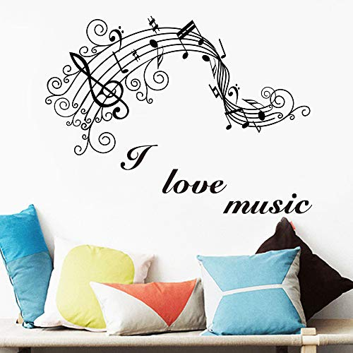WWYJN 2019 New Art Music Note Wall Sticker for Bedroom Decor Music Room Decoration House Decal Mural Home Wallpaper Gray XL 49cm X 96cm (Wallpaper Halloween 2019)