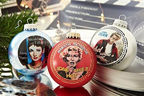 Krebs & Sohn Motiv-Weihnachtskugeln 3er Set – Christbaumkugeln aus Glas mit Aufdruck – Hollywood Filmstars – Blau, Silber, Rot