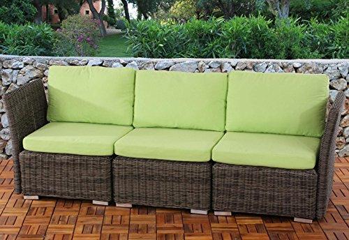 Sistema modulare Siena giardino polyrattan divano 3 posti ~ naturale-verde