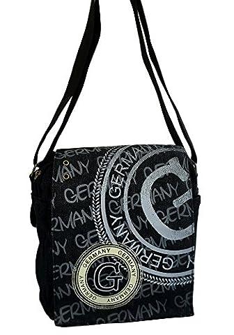 Robin Ruth Canvas kleine Umhängetasche/Überschlagtasche Germany Denim in schwarz