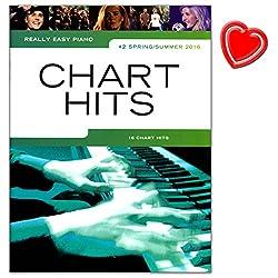 Really Easy Piano: Chart Hits 2 - Spring/Summer 2016 (Coldplay, Adele, Justin Bieber, David Bowie ... ) - Klaviernoten mit bunter herzförmiger Notenklammer