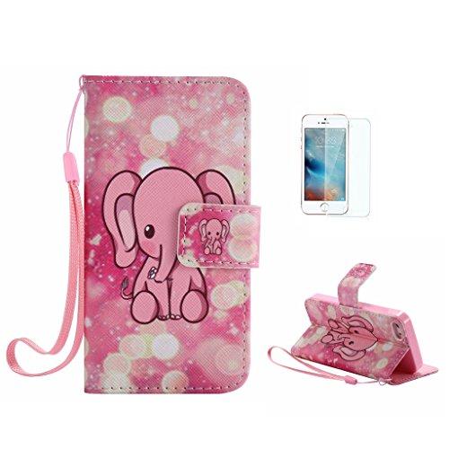 Custodia per iPhone 5, iPhone 5S, iPhone SE Custodia, con protezione per lo schermo in vetro temperato] antigraffio, fatcatparadise (TM) Custodia posteriore morbida in silicone, design colorato motivo Pink cute elephant