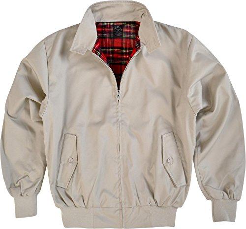 GearUp Original Harrington Jacke English Style in 12 Verschiedenen Designs wählbar Farbe Beige Größe XL