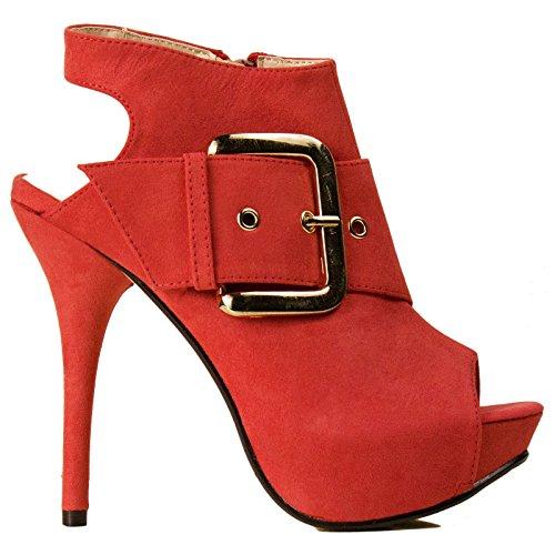 Toocool - Scarpe Decollet? spuntate open toe sandali tronchetto fibbia tacco 13 cm BB-72 Corallo