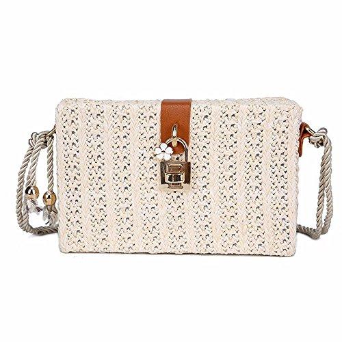 TentHome Damen Strandtasche Stroh Korbtasche Elegant Clutch Handtasche Crossbody böhmische Seil Schultertaschen Sommer Umhängetasche Kuriertasche (Weiß) -