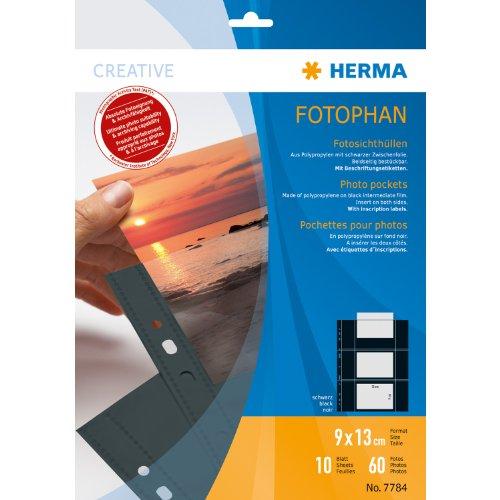 Preisvergleich Produktbild Herma 7784 Fotosichthüllen (90 x 130 mm) 10 Hüllen schwarz