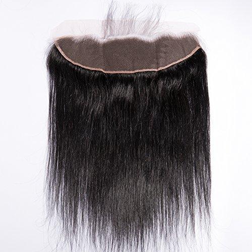 25cm capelli umani con chiusure frontali closure human hair extension capelli veri matassa tessitura capelli brasiliani naturali lisci nero naturale lace front 13