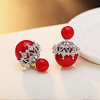 925 Sterling Silver Double-sided Pearl Stud Earrings Fashion Size Before And After Simple Ear Studs (Color : RED, Size : 1#)