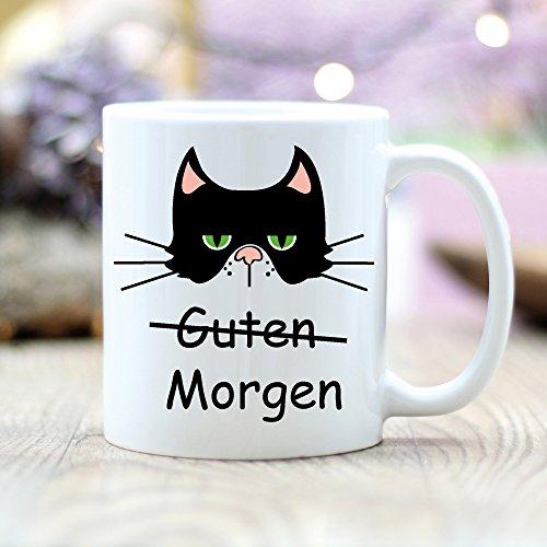Wandtattoo Loft® Keramiktasse bedruckt Guten Morgen Katze Morgenmuffel Tasse / beidseitig / spülmaschinengeeignet -