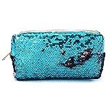 Damen Multifunktional Pailletten Geldbörse,Reise Schminktasche Geldbeutel Kosmetiktaschen Schminke Mäppchen (Blau)