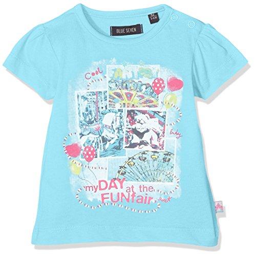 Blue Seven Baby - Mädchen T-Shirt Mini MD 901027 X, Einfarbig, Gr. 74, Blau (Cyan ORIG 650) (Baby-mädchen-shirt-labels)