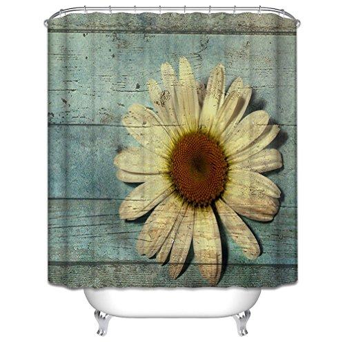 CHATAE Morning-Sunshine Abstrakt Style Eiche Holz und Daisy Gerbera Vorhang für die Dusche, Polyester-Wasserdicht-Bad Vorhang Haken im Lieferumfang enthalten, Grün/Gelb (72wx72h)