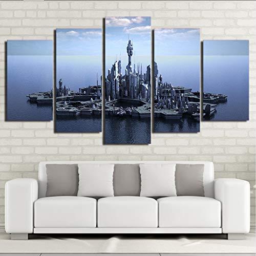 Wiwhy Hd Gedruckt 5 Stück Leinwand Kunst Stargate Atlantis Leinwandbilder Wandbilder Für Wohnzimmer Moderne,10X15/20/25Cm
