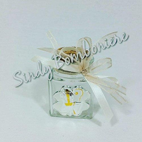 Bomboniere cresima fai da te offerta icona laminato argento vasetto barattolo vetro 4pz