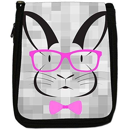 Hipster animali con papillon e occhiali Medium Nero Tela Borsa a tracolla, taglia M Hipster Rabbit Pink Glasses