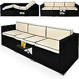Deuba Poly Rattan Lounge Liege 2in1 schwarz | 6-fach verstellbare Lehnen | 20cm dicke Rückenpolster creme | ausklappbarer Tisch | Uv-beständiges Polyrattan - Gartenliege Sonnenliege Relaxliege Couch Gartenmöbel