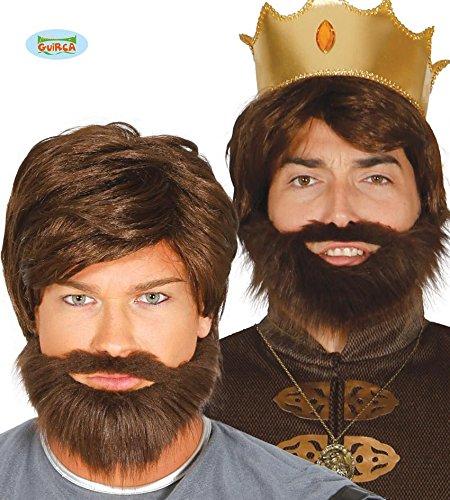 braune Perücke Königsperücke Zar mit Bart für Erwachsene Fasching Fürsten