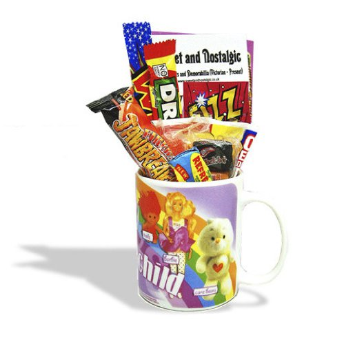 80's Child Mug - Girls - with a selection of 80's Retro Sweets 630gms