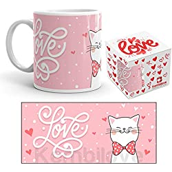 Kembilove Taza de Desayuno para Parejas Love Gato con Frase de Amor - Regalo Original Taza con diseños Coloridos para Enamorados Novios y Novias San Valentín - Taza de café para Enamorados