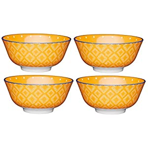 "KitchenCraft Footed Spotty / Textile-Patterned Ceramic Bowls, 15.5 cm (6"") - Orange (Set of 4)"