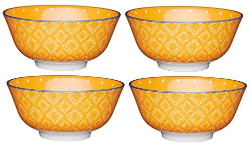 Kitchencraft à Pied à Pois/Textile-Patterned Bols, 15.5 cm (15,2 cm) (Lot de 4), en CÉRAMIQUE, Orange, 15.5 x 15.5 x 7.5 cm