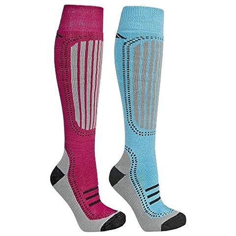 Trespass Janus Tech Ski Socks (Blue Water/Sangria) - 2 Pair Pack (Size adult 6-9)