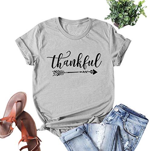 yazidan T-Shirt Damen Frauen Mädchen Thanksgiving Rundhals Kurzarmshirt Brief Drucken Basic Fun Xmas Tops Tee Shirt Blusen Oberteile